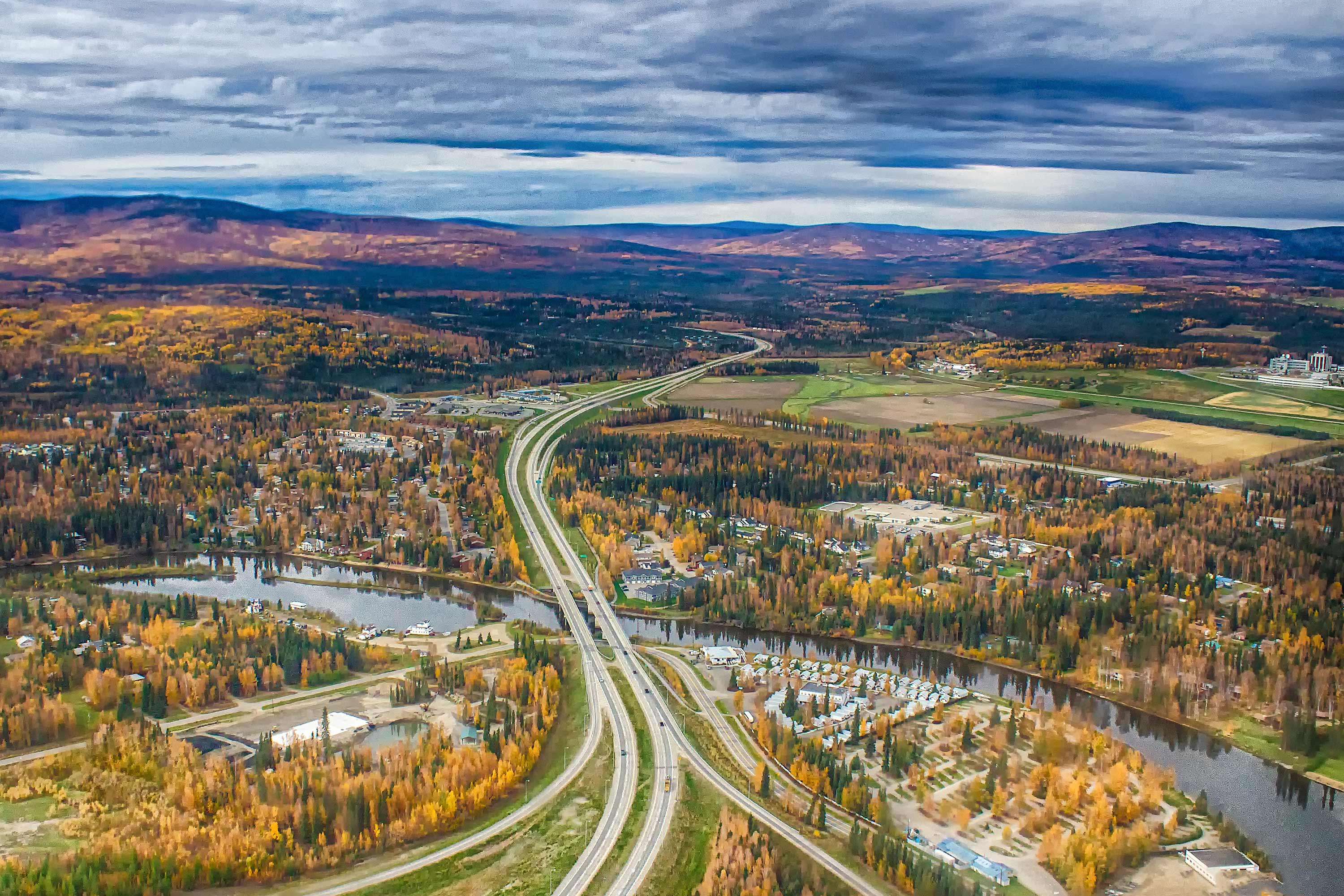Aerial Fairbanks in Fall