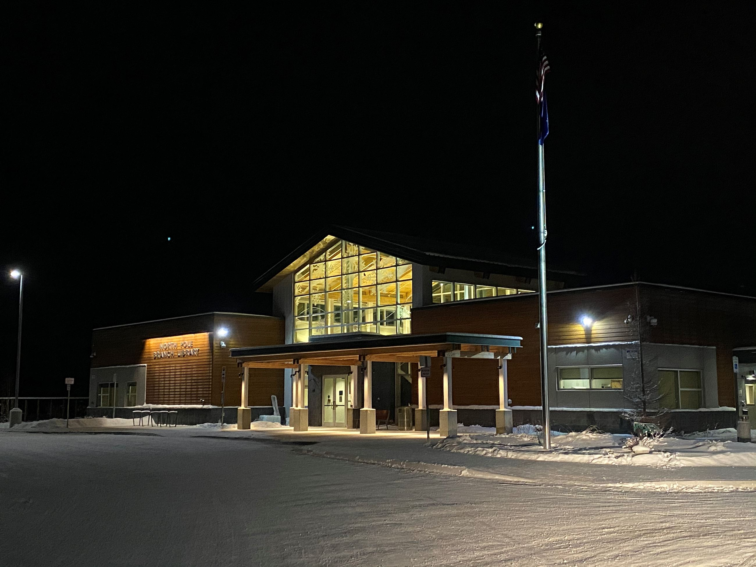 north pole branch library winter